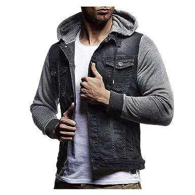 QinMM Chaqueta de Mezclilla con Capucha para Hombre, Abrigo otoño Invierno Jacket Jeans