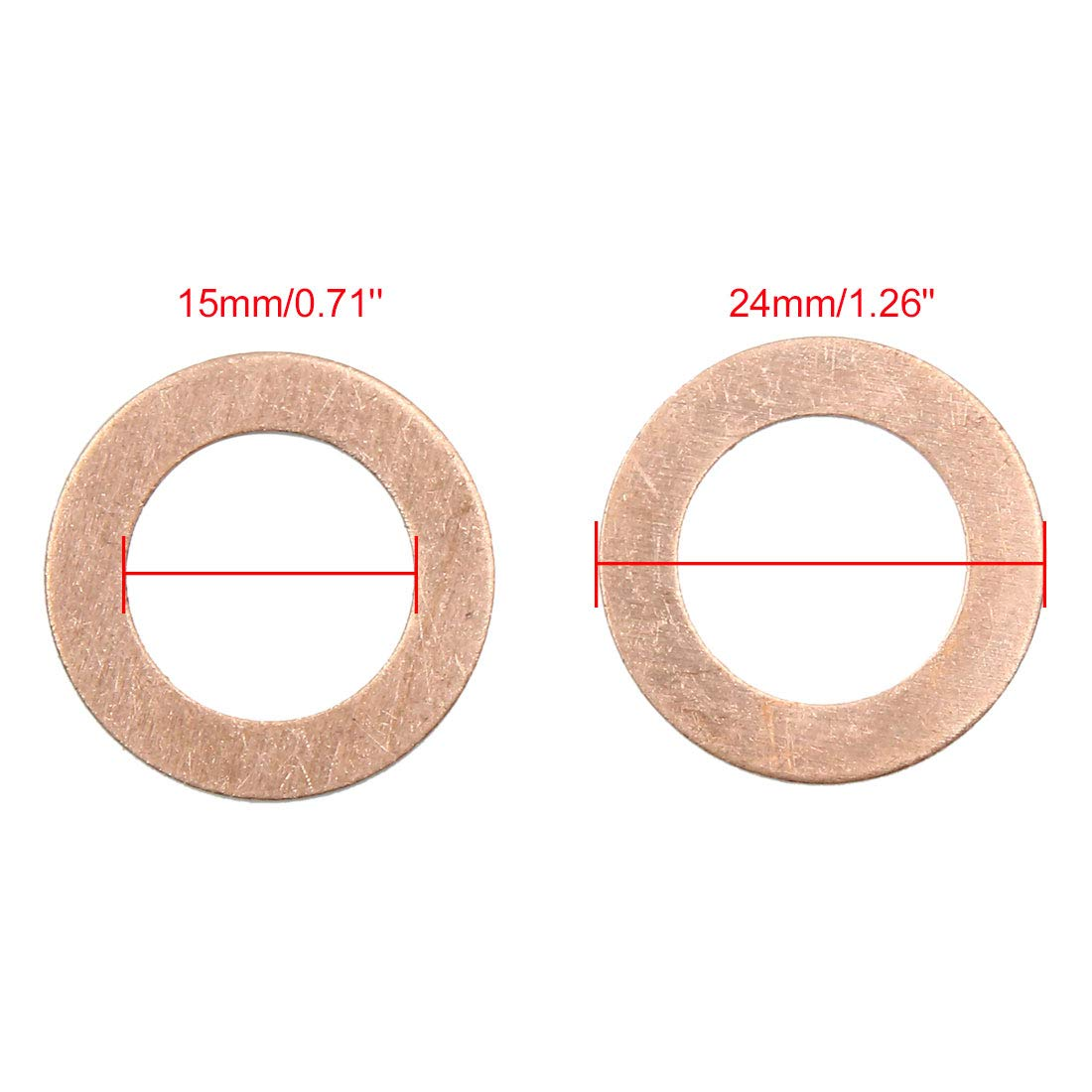 X AUTOHAUX 15mm Inner Dia Copper Crush Washers Car Flat Sealing Plate Gaskets Rings 30pcs by X AUTOHAUX (Image #3)