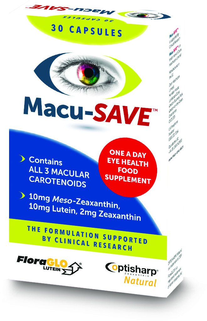 Macu-SAVE Eye Supplement for Macular Health with Meso-Zeaxanthin/Lutein and  Zeaxanthin - Pack of 30 Capsules: Amazon.co.uk: Health & Personal Care