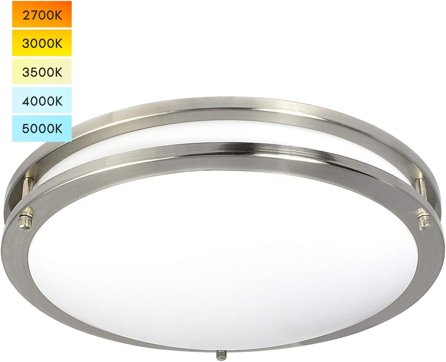 Luxrite 16 Inch LED Flush Mount Ceiling Light, CCT Color Temperature Selectable 2700K   3000K   3500K   4000K   5000K, Dimmable Ceiling Light Fixture, 24W, 1960 Lumens, Energy Star, ETL Listed