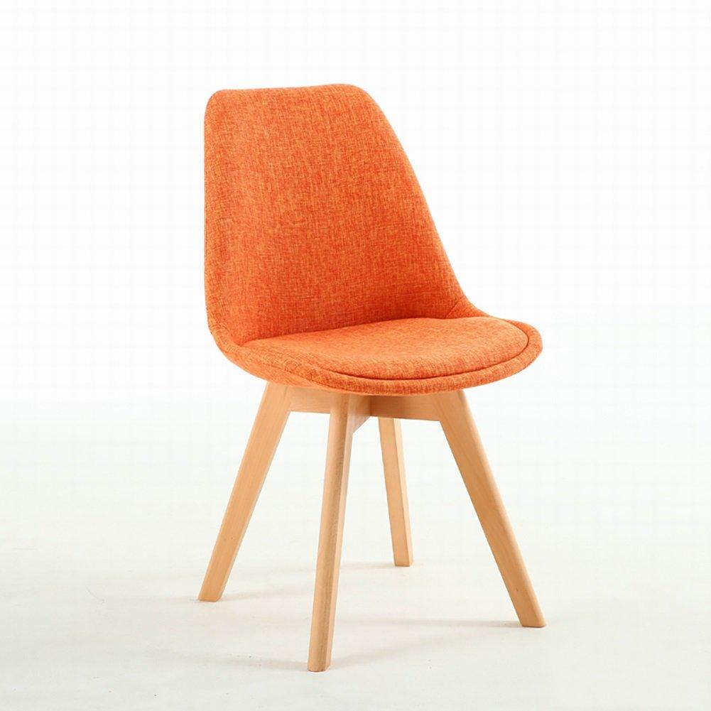 ダイニングチェア北欧ウッドチェアオフィスカジュアル世帯レストランゲストルームベッドルームリビングルームモダンシンプルスツール (色 : Orange, サイズ さいず : Set of 1) B07F36B4TG Set of 1|Orange Orange Set of 1