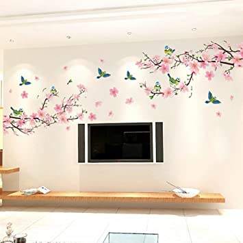 Alicemall Floral Wall Sticker Wonderful Blossom Peach Flowers Wall Sticker  Living Room Staircase TV Background Stickers