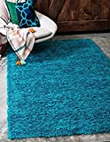 Unique Loom Solid Shag Collection Turquoise 4 x 6 Area Rug (4' x 6')