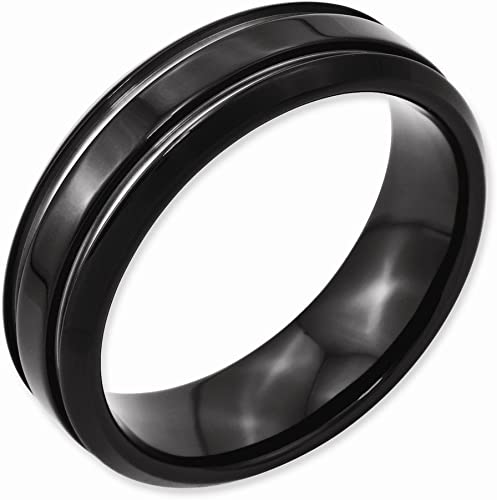 Stainless Steel Wedding Band Ring Polished Black IP-Plated Black IP Grooved Ring
