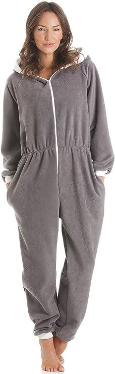 TALLA 46-48. Pijama Supersuave de una Pieza - con Capucha - Gris
