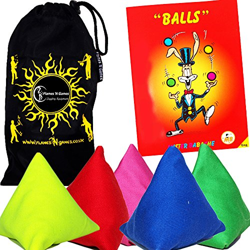 5x Tri-It Juggling Balls - Set of 5 Pyramid Juggling Sacks (Mix) Bean Bags For Kids & Adults + Fabric Travel Bag.