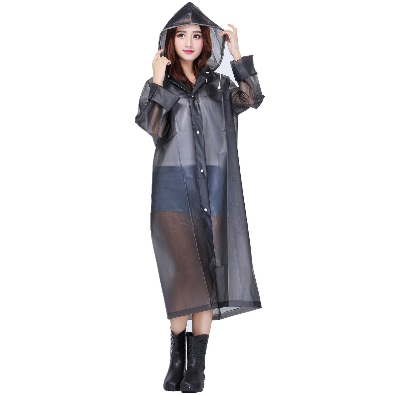 Cloele Adult Portable Waterproof Raincoat Eva 0.15mm Reuseable Long Rainjacket Light Weight Rainwear for Men and Women Outdoors One Size for All