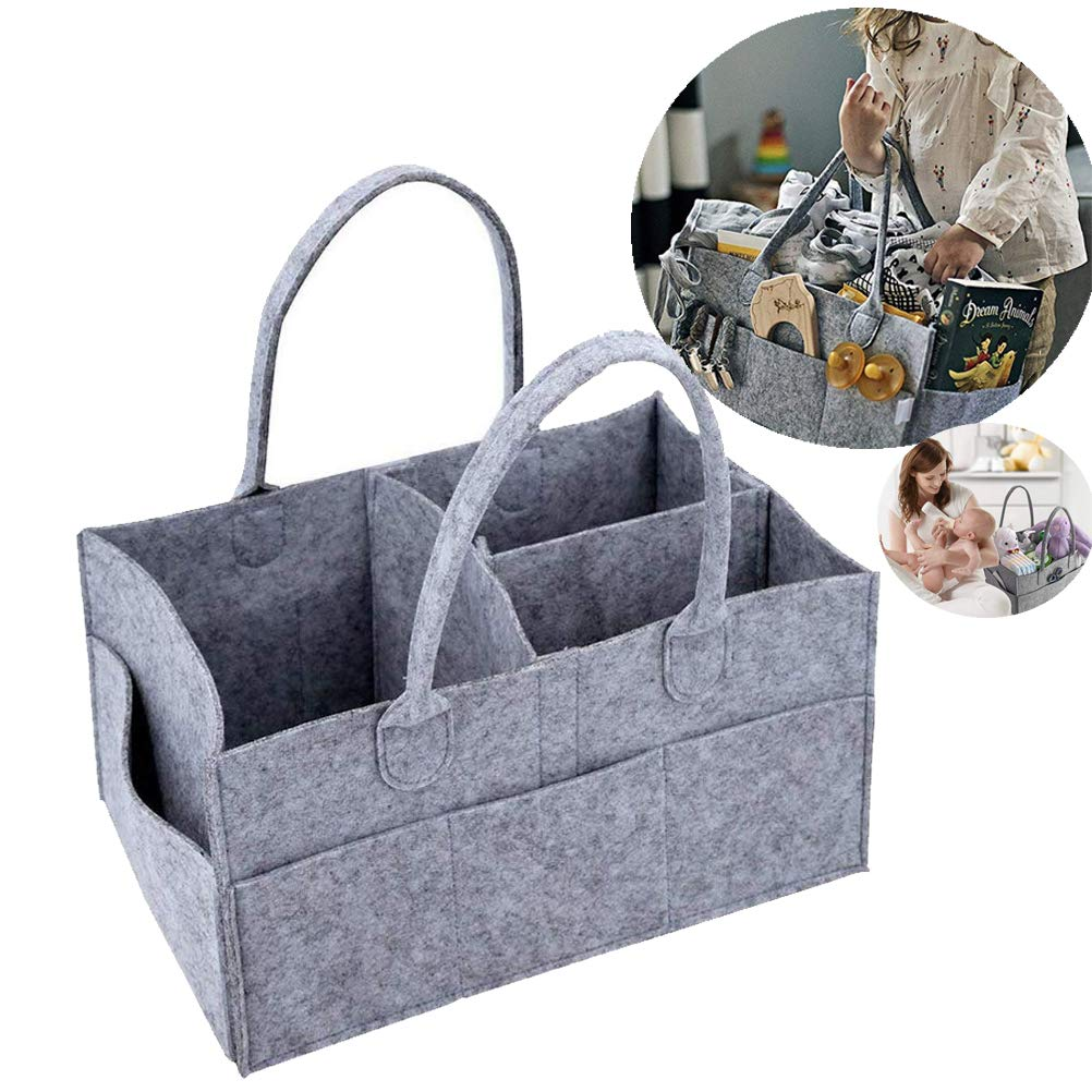 Baby Diaper Organiser,EAHOME Foldable Caddy Portable Nappy Organiser Grey Kid Toys Storage Bag Felt Basket with Changeable Compartments