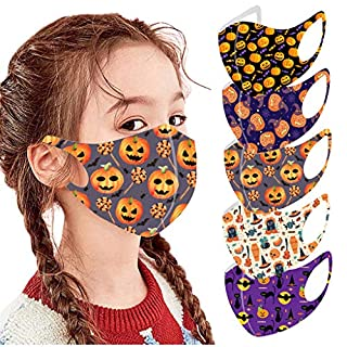 Gerichy 5PC Face_Masks for Kids, Halloween Print Childrens Ice Silk Face Shield Colorful Reusable Washable Face Bandanas for Children Outdoor Back to School