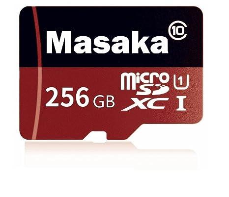 Masaka - Tarjeta Micro SD 256 GB de alta velocidad clase 10 Micro SD SDXC con adaptador (256 GB).