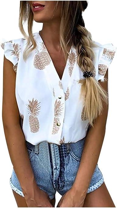 Vectry Camiseta Mujer Moda Ocio Manga Larga Suelta Camisa Estampada Piña Tops 2020 Moda Mujer Tops: Amazon.es: Ropa y accesorios