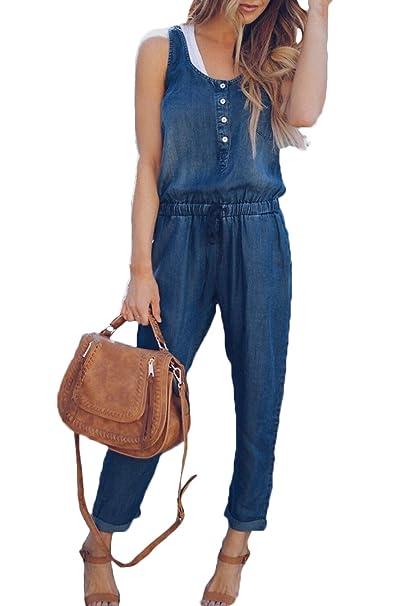ac55b515b7a9 Womens Denim Overalls Straight Legs Buttons Drawstring Jumpsuits Blue S