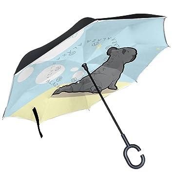 ALAZA Paraguas invertido de doble capa resistente al viento para yoga, diseño de bulldog francés