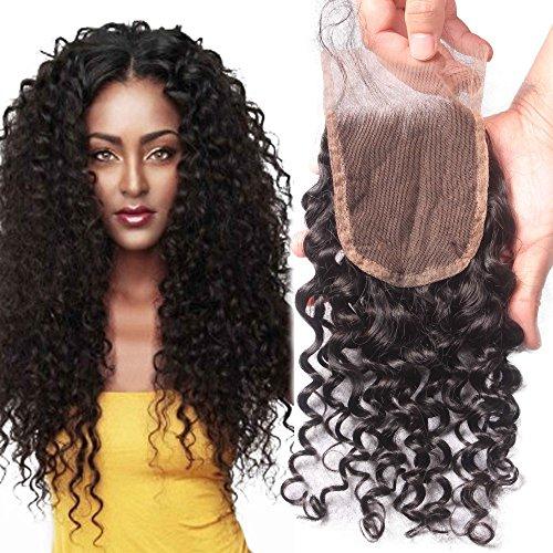 "Elva Hair Free Part Deep Curly Lace Closure Bleached Knots Brazilian 3.5""x4"" Virgin Human Hair Accessions 14"""