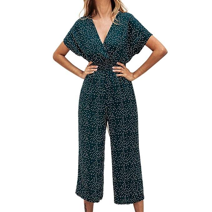 af56af18d97f9 Amazon.com: 2019 New Womens V Neck Jumpsuit Summer Short Sleeve Wide ...