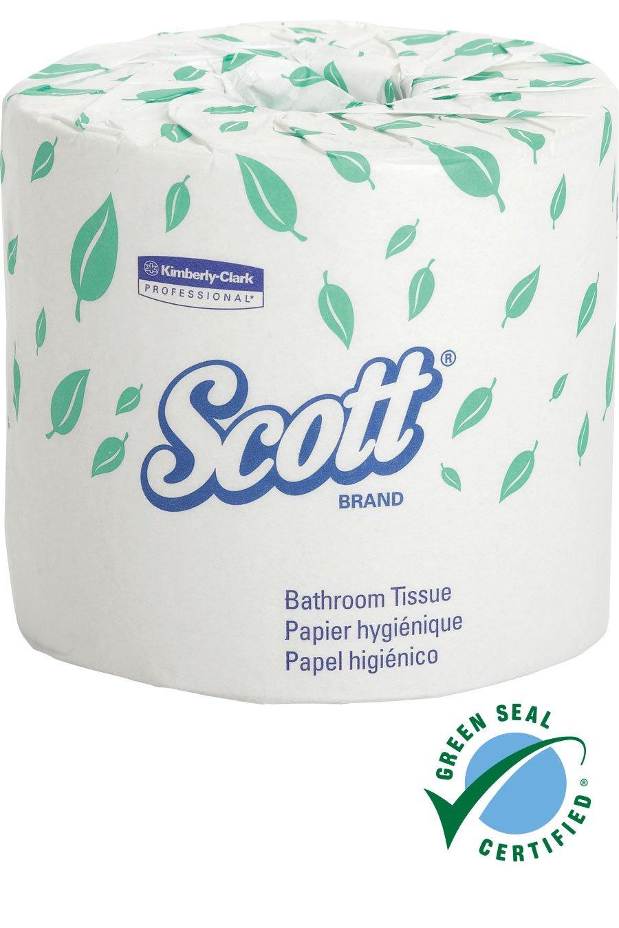 Scott 64460 White 100% Recycled Fiber Standard Roll Bath Tissue (80 Rolls per Case)