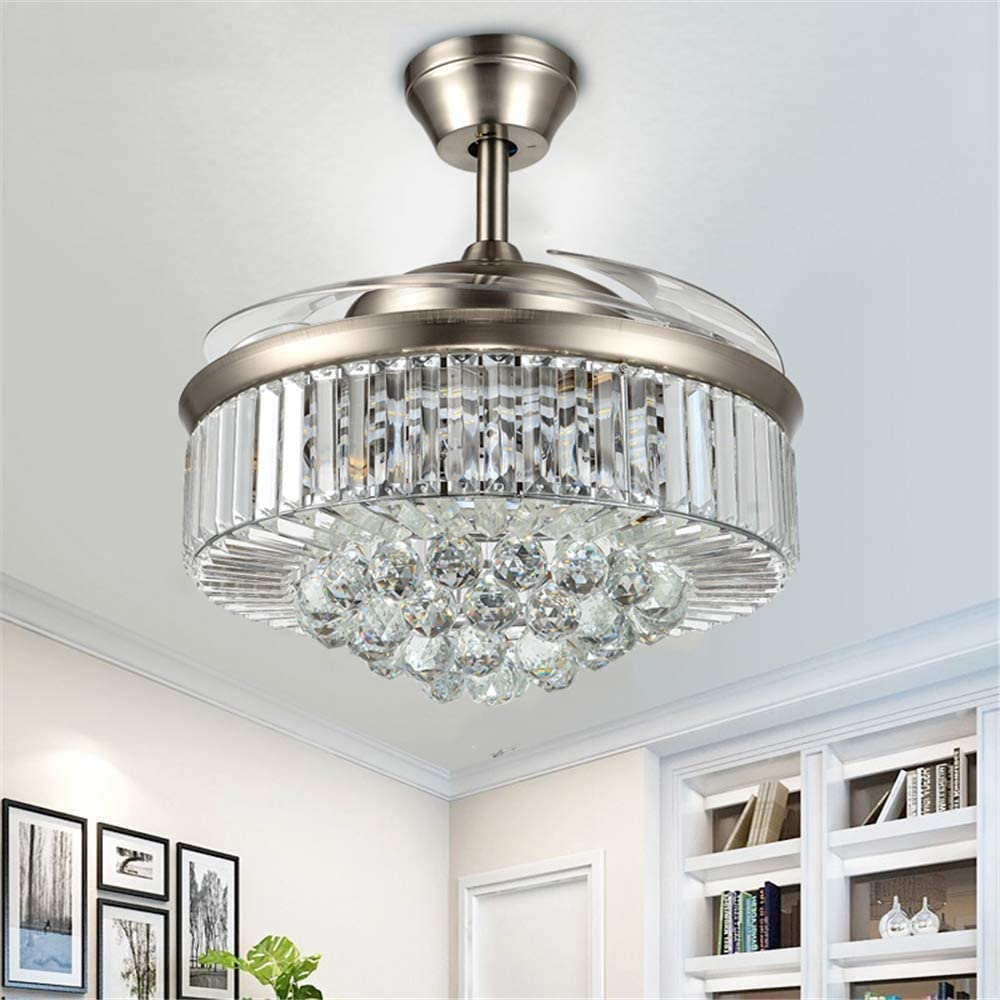 Amazon Com Lighting Groups 42 Retractable Reversible Ceiling Fan Lights With Remote Control 4 Invisible Blades Fan Chandeliers For Bedroom Diningroom Livingroom Indoor Led Ceiling Light Kits With Fans Chrome 02 Kitchen Dining