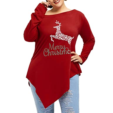 e02031d3eb9 Newest Women Plus Size Merry Christmas Print Irregular Hem Xmas Long Sleeve  Top Blouse Shirt  Amazon.co.uk  Clothing