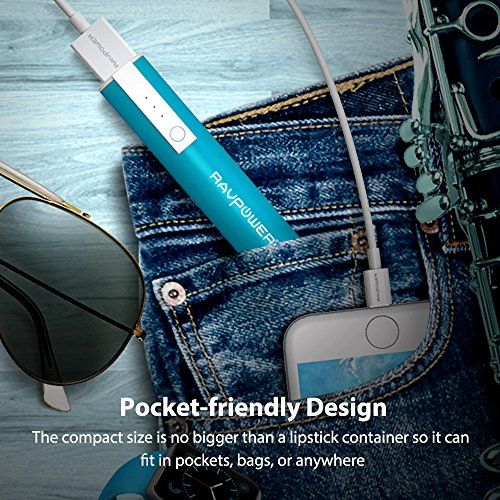 RAVPower Luster tiny 3350mAh convenient Charger External Battery Pack power Bank iSmart concept for Smartphones and more Blue Batteries