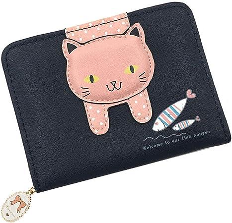 Women Mini Coin Purse Cute Cat PU Leather Wallet Card Key Holder Clutch Bag JD