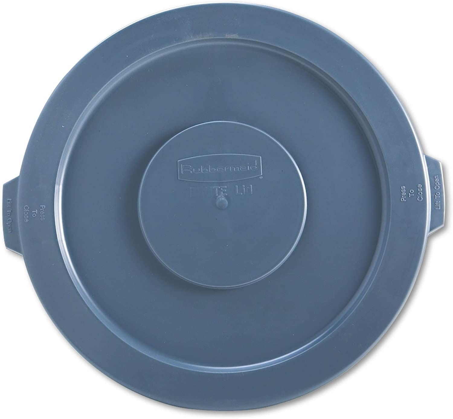 "Rubbermaid 263100GY Round Flat Top Lid, for 32-Gallon Round Brute Containers, 22 1/4"", Dia, Gray"
