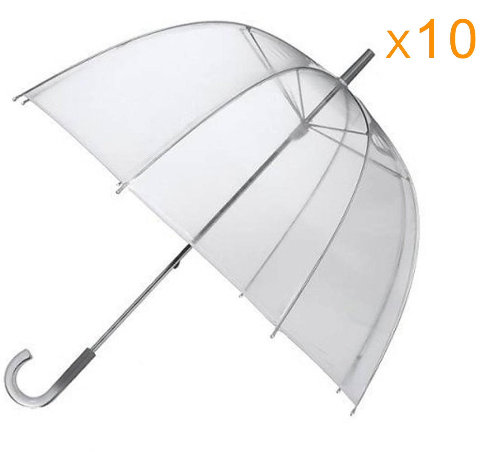 46'' Clear Dome/Bubble Umbrellas - Pack of 10 - Perfect for Weddings and Events by EZbrella