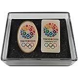 【terry_and_jun】非売品 東京 2020 オリンピック ピンバッジ 招致 縦長 楕円 2個セット ケース付