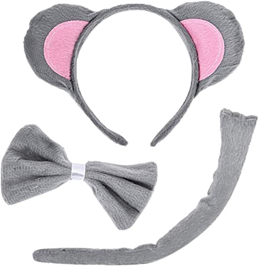 Child Girls Grey Gray Mouse Ears Tail Kit Set Costume Accessory NEW
