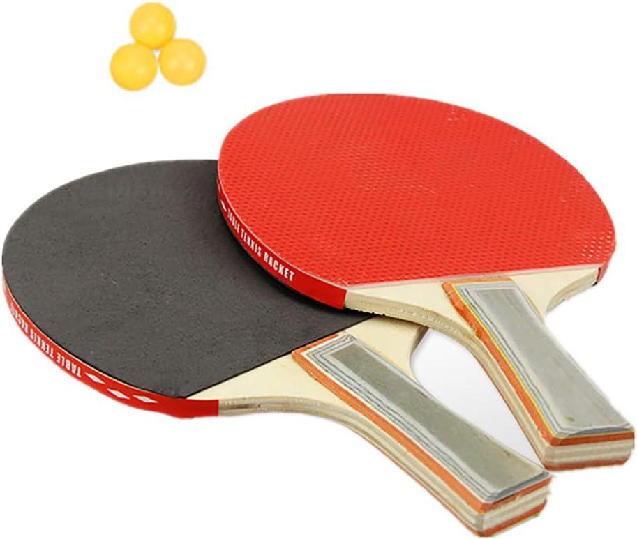 Juego de tenis de mesa, 2 palas de ping pong y 3 pelotas de ping-pong, ideal para principiantes y niños, raqueta de tenis de mesa con hoja de madera