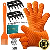 Maigon Premium Heat Resistant BBQ Kitchen Cooking Oven Silicone Gloves set 2 Thick Gloves 2 Meat Shredder 1 Silicone Baster with Fantastic Gift Box