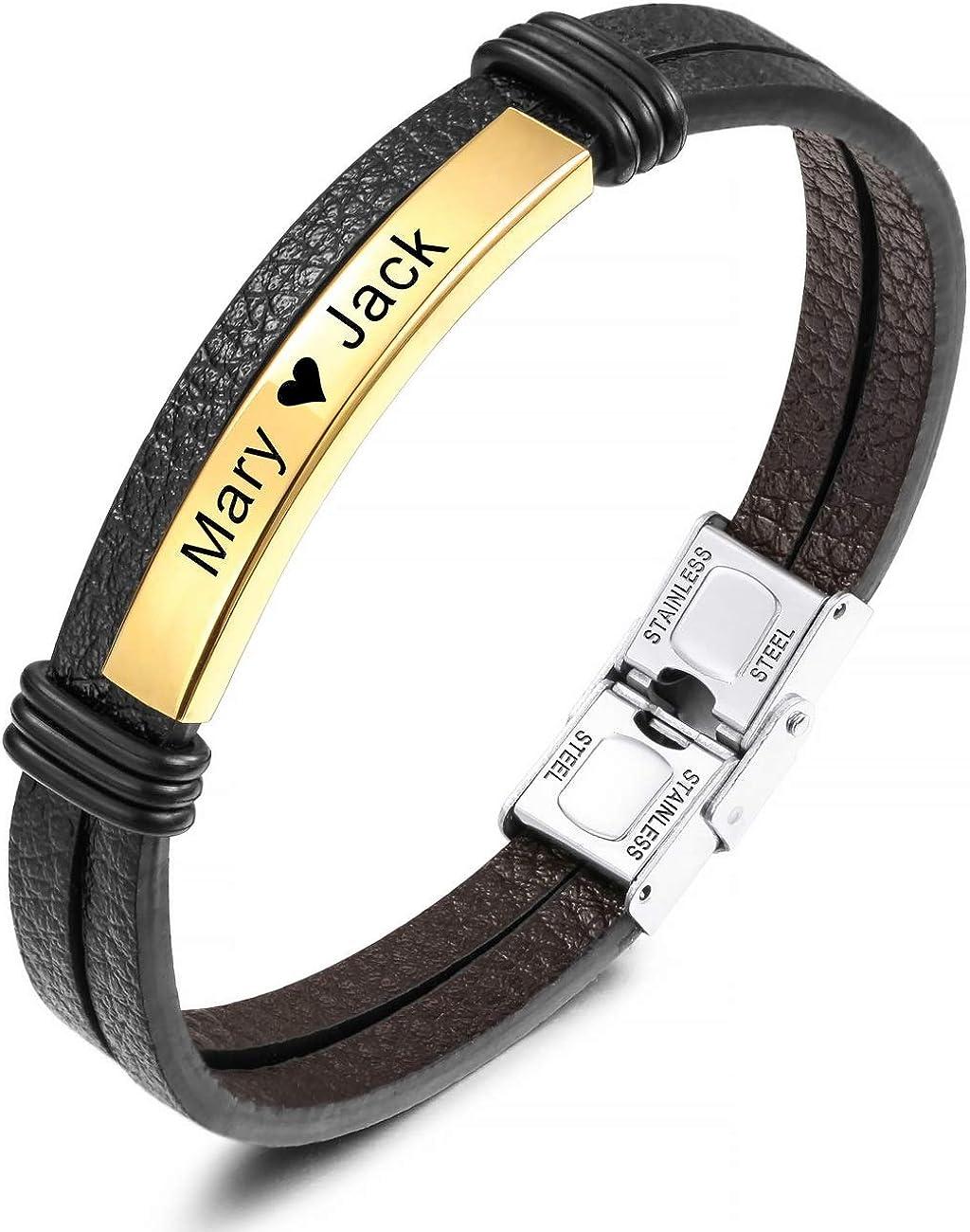 MeMeDIY Name Bracelet Personalized Bracelets for Women Customized Bracelets for Boys Men Girls Stainless Steel Genuine Leather Engraving Braided Cuff Adjustable