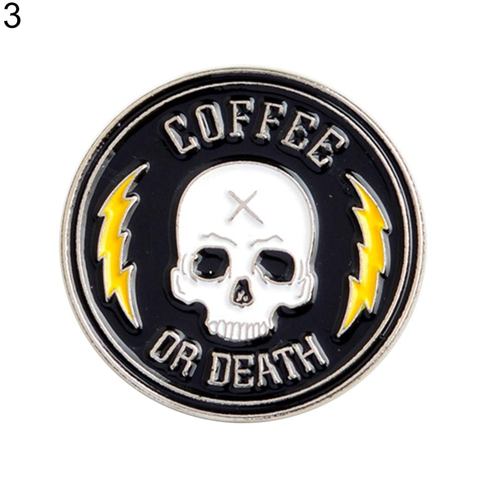 Bangle009 Unisex Halloween Skull Coffee Round Brooch Pin Jacket Lapel Badge Jewelry Gift 1#
