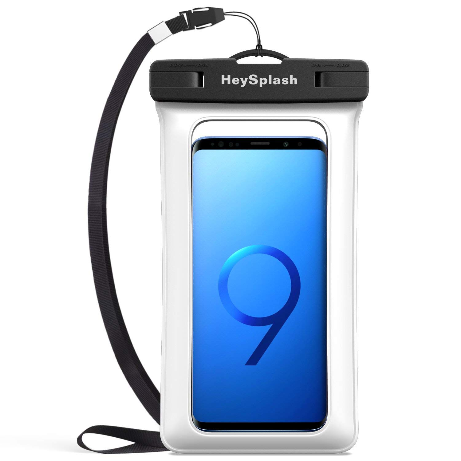 Waterproof Floating Cell Phone Bag, HeySplash Floatable Phone Case Pouch Dry Bag with Lanyard Compatible with iPhone X/Xs/Xr/Xs Max, 8/7/6s Plus, Samsung Galaxy Note 9/8, S9/S8 Plus, S7 Edge, White