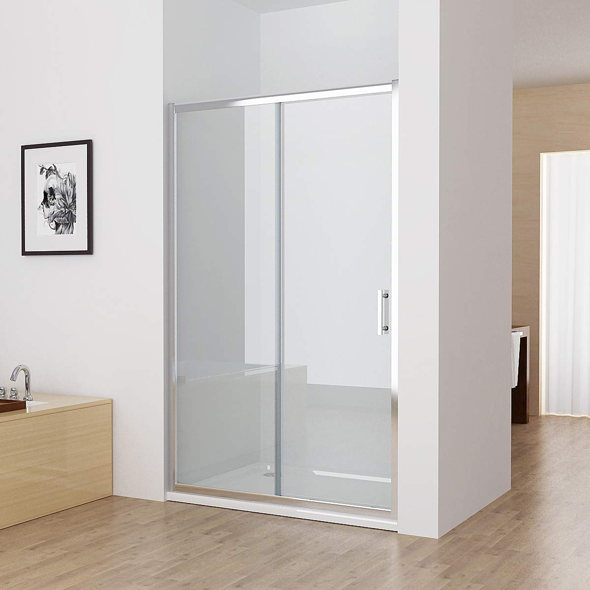 6350421858e5 1000mm Shower Door Glass Panel Sliding Shower Enclosure Chrome ...
