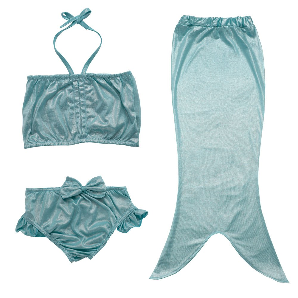 JFEELE Kids Little Girls 2 Piece Swimsuit with Mermaid Tail Swimwear Bikini Set - 4-5T,Blue