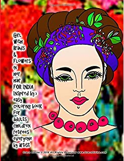 girl with braids flowers in her hair for india inspired by frida kahlo easy coloring book for adults children retirees everyone by artist grace divine