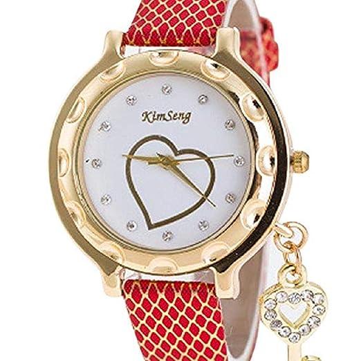 Relojes de Cuarzo para Mujer Rhinestone Love Heart Analog Fashion Liquidación Lady Relojes Mujer Relojes Relojes de Pulsera para Mujer (Rojo): Amazon.es: ...