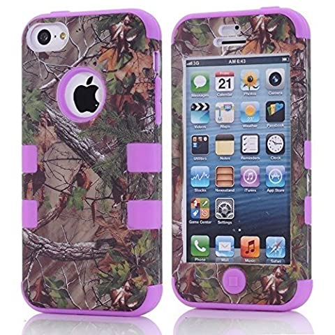 Kecko(TM) Defender Tough Armor Tree Camo Design Triple Layer Shockproof High Impact Camouflage Hunting Tree Forest Hybrid Hard Suitable Fit Protective Case Skin For iphone 5C Only(Not For iphone 5/5S)--Forest/Tree/Branch/Leaves On The Core (Tree Camo (Real Tree Camo Case For Ipod 5)