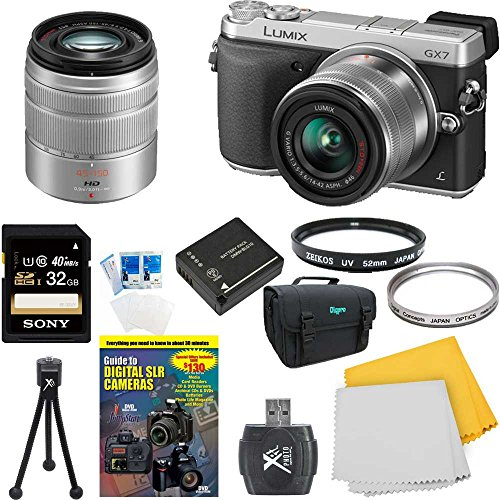 Panasonic LUMIX DMC-GX7 DMCGX7KS GX7 DSLM Silver Camera with 14-42 II, 45-150mm Lenses with 32GB High Speed Card, Spare Battery, DVD SLR Guide, SLR Padded Case, 2 UV Filters, Table top Tripod, SD Card Reader and More