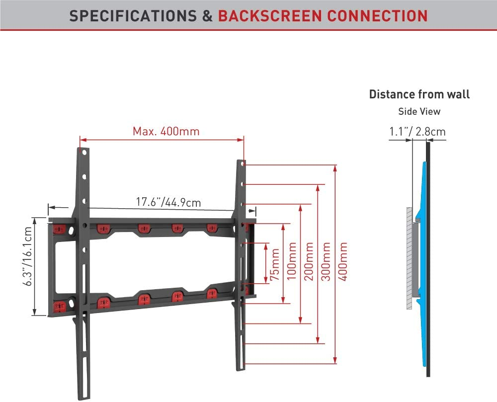 Barkan TV Wall Mount, 19 - 60 inch Fixed, Drywall No Stud No Drill Bracket, Holds up to 71 lbs, Patented, 5 Year Warranty, Fits LED OLED LCD, Including 6 ft 4K HDMI Cable