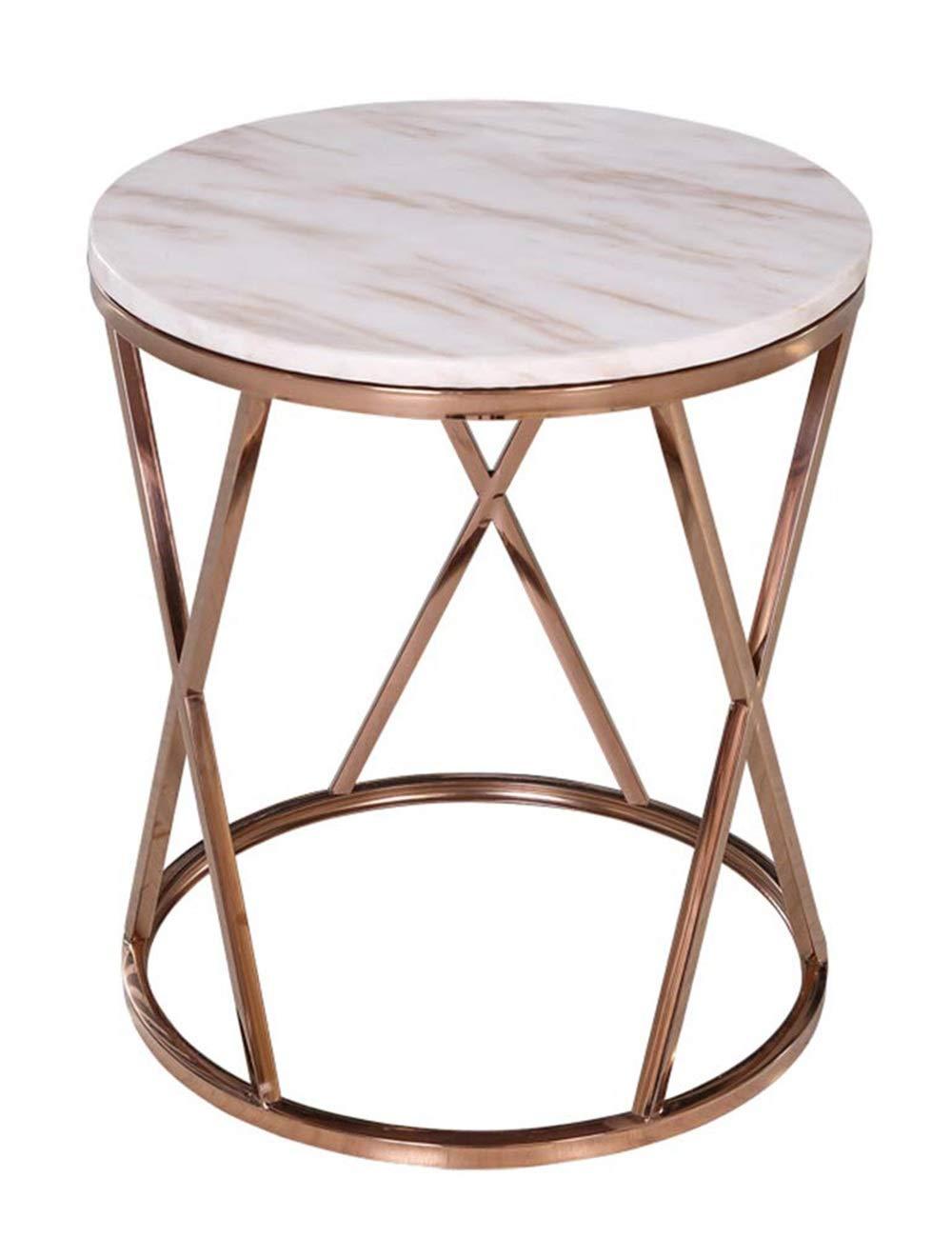 大理石のコーヒーテーブル/錬鉄製のサイドテーブル、丸型モダンミニマリストのリビングルームスモールアパートメントベッドサイドテーブル、金属製ブラケット、ホワイト(50×50×55cm) B07QQYKB4Z
