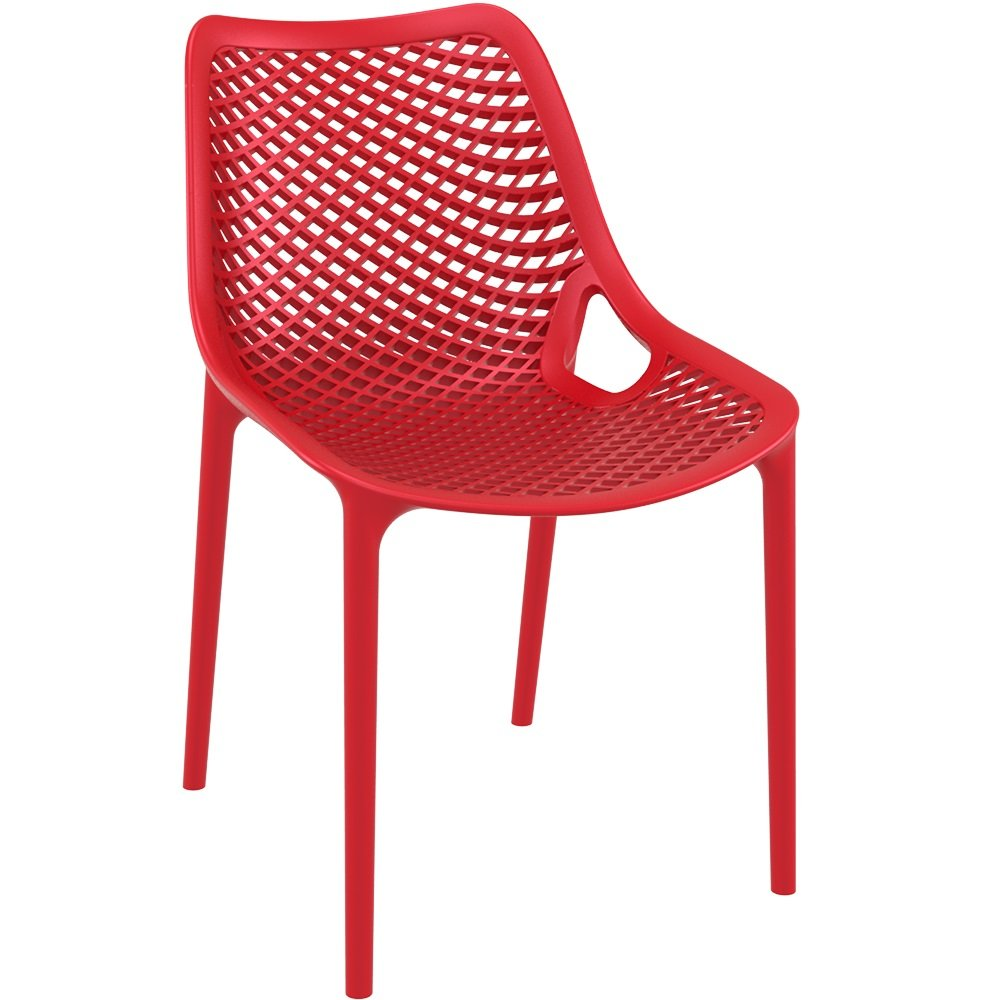 Red Plastic Polypropylene Chair - Commercial and Domestic Use Indoors and Outdoors - Ideal plastic chair for cafes bistros balconies and patios BrackenStyle