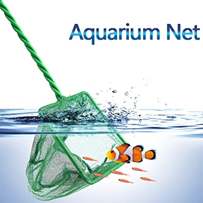 Hemgk Aquarium Net Fish Tank Net, Fine Mesh Fish Catch Net, Plastic Long Handle Round Square Fishing Net, Convenient, Easy to Use, for Ponds, Turtle Tank, Freshwater, Saltwater, Vegetable Market : Garden & Outdoor