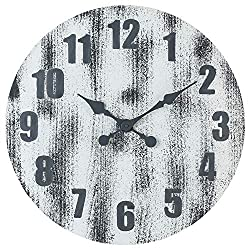 Oldtown 24-Inch Solid Pine Wood Weathered Gray White Rustic Farmhouse Engraved Arabic Number Wall Clock (24-inch)