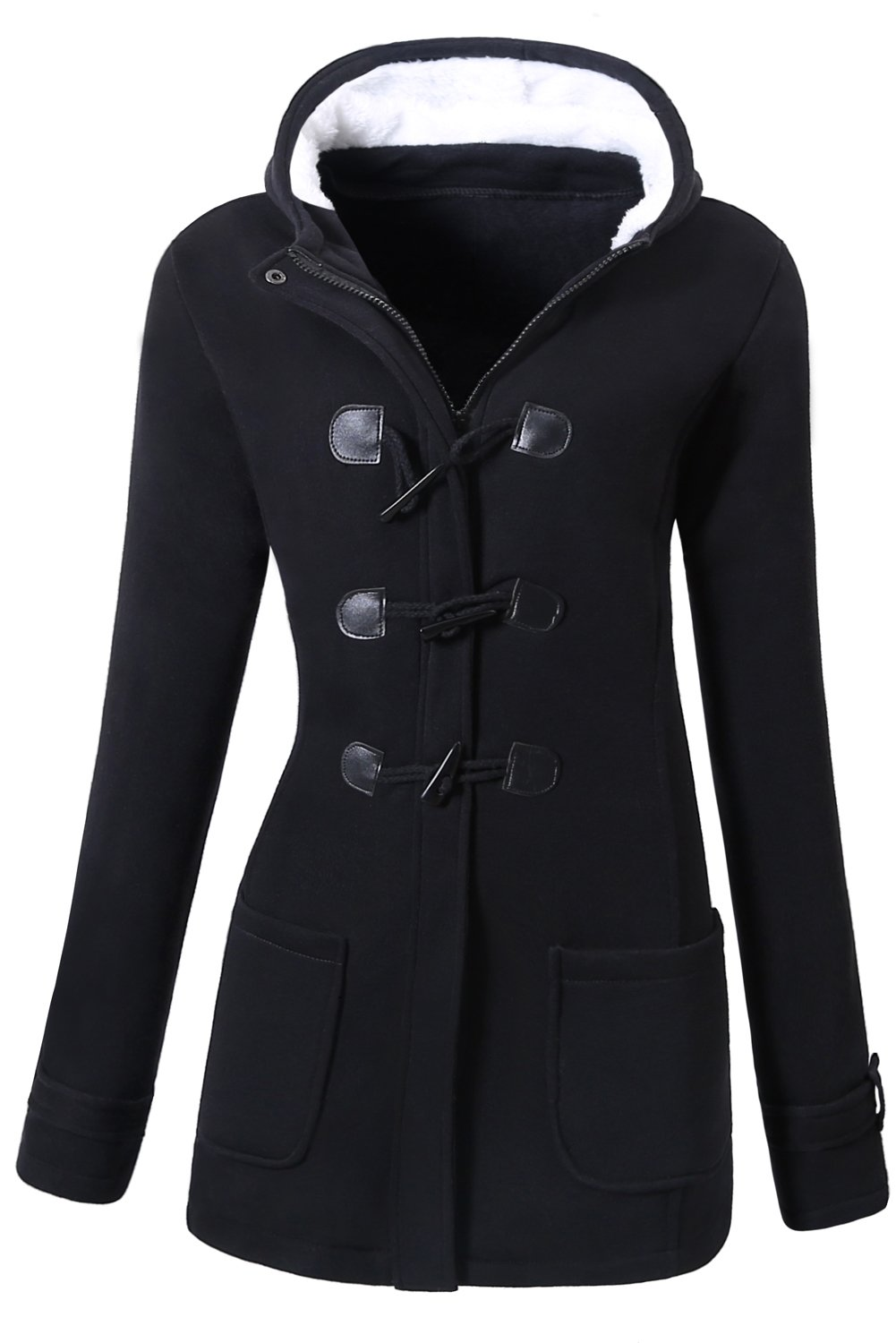 VOGRYE Womens Winter Fashion Outdoor Warm Wool Blended Classic Pea Coat Jacket Black Medium