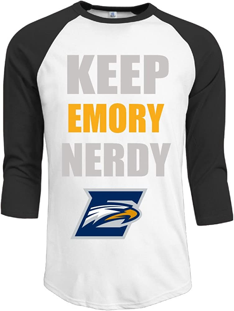 ElishaJ Men's Emory University 3/4 Sleeves Raglan Baseball Shirt Black