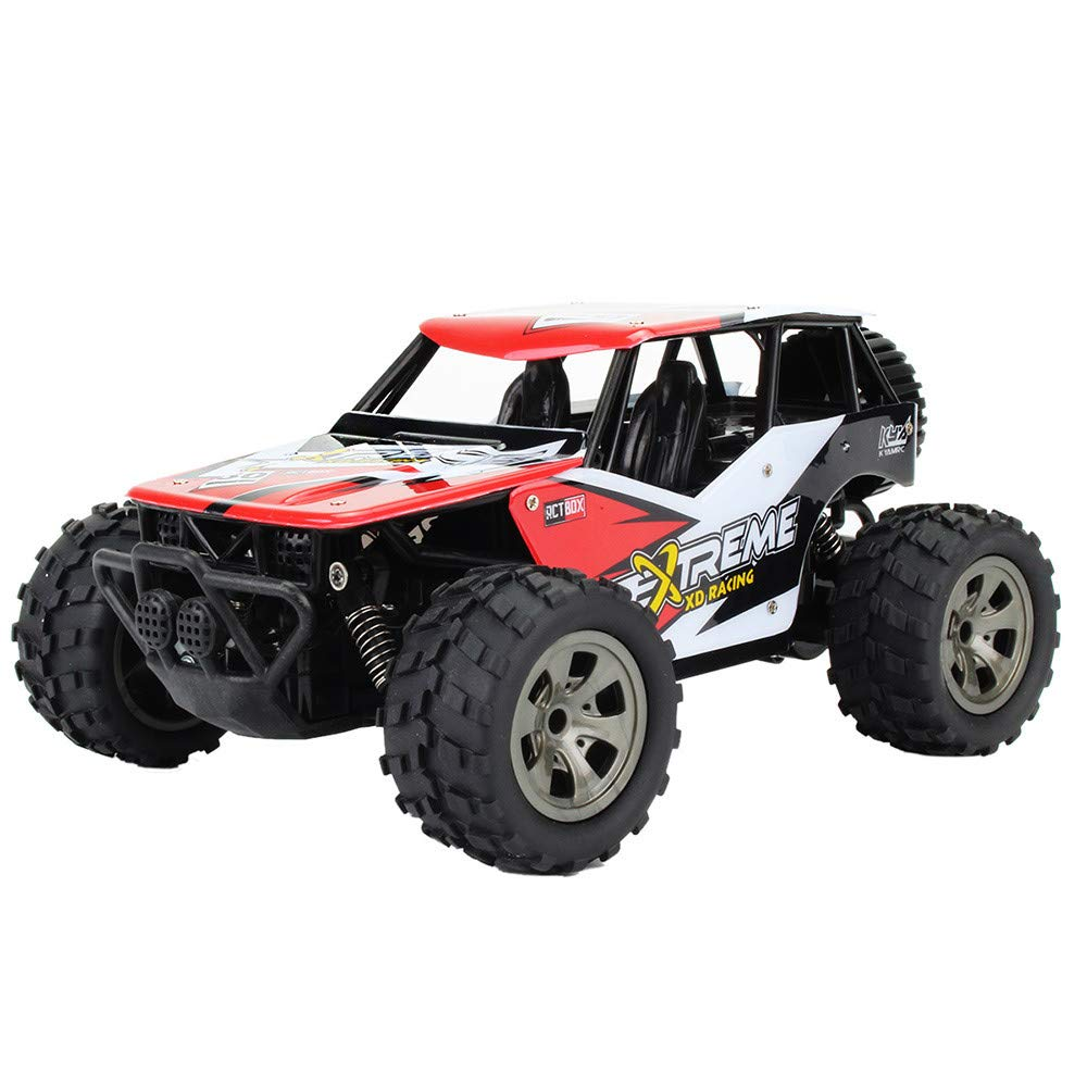 Choosebuy 1:18 Off-Road Remote Control Racing Car, Cool Durable 2WD High Speed RC Tracked Cars Toys with 2.4GHz Technology for Indoors/Outdoors, Best Gift for Christmas Birthday (Red)