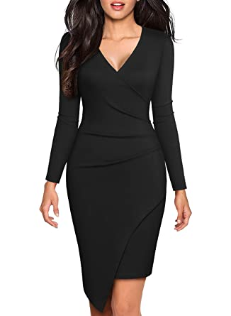 9ede42b472e BOKALY Women s Bodycon Cocktail Party Dresses Elegant Black Deep V Neck  Long Sleeve Sexy Casual Club