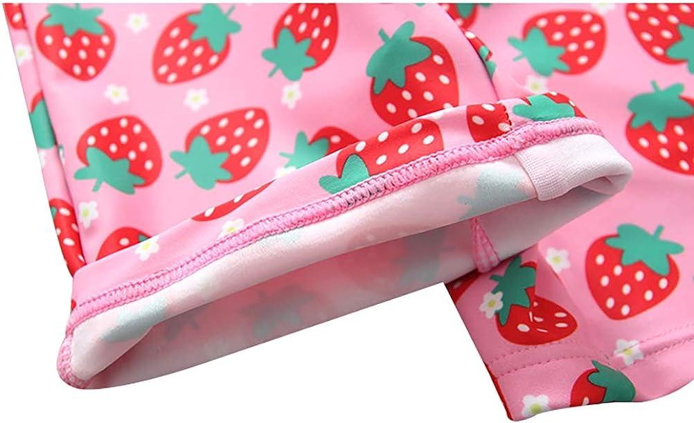 Achiyi Baby Toddler Girls One Piece Zipper Sunsuits with Sunhat Lovely Strewberry Rash Guard Bathing Suit UPF50 Beachwear