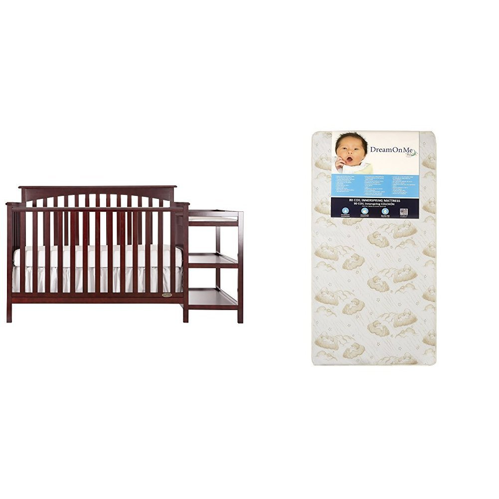 Dream On Me Chloe 5 in 1 Convertible Crib with Changer with Dream On Me Spring Crib and Toddler Bed Mattress, Twilight